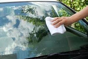 windshield being cleaned